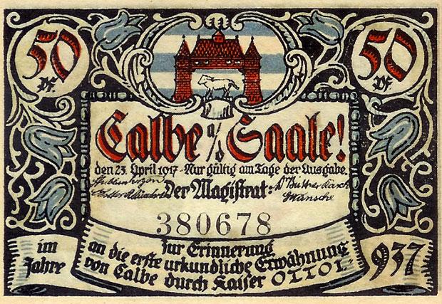 Calbenser Notgeld als Wegzoll Eintrittskarte zu den Rolandfesten 2005 - 2009